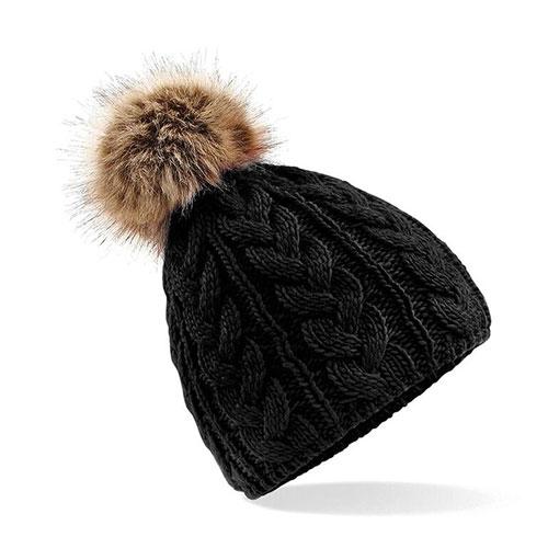 Fur Pom Pom Beanie Black