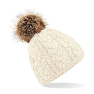 Fur Fur Beanie Off White