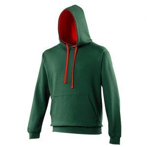 Bottle Green_Fire Red Varsity Hoodie