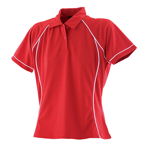 Red White Womens Performance Polo