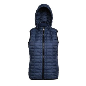 Navy Honeycomb Hooded Gilet