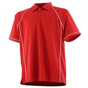 mens piped performane polo red white