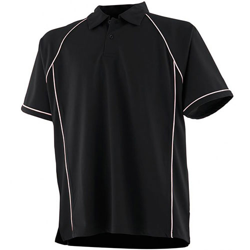 piped performance polo black-white
