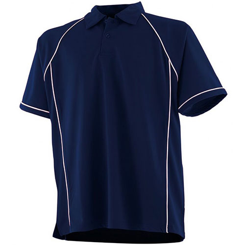 piped performance polo navy-white