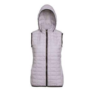 womens white honeycomb hooded gilet